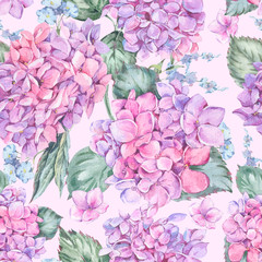 Summer Watercolor Vintage Floral Seamless Pattern with Blooming Hydrangea, Watercolor Botanical Natural Hydrangea Illustration on Pink Background