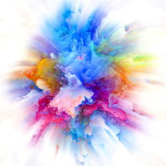 Globalization of Colorful Paint Splash Explosion