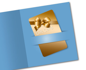 Here is a retail gift card that is gold colored with a golden bow design. It is on a blue background.