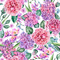 Summer Watercolor Vintage Floral Bouquet with Blooming Hydrangea, Freesia, Roses, Garden Flowers, Watercolor Botanical Natural Illustration Isolated on White Background