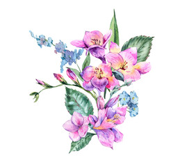 Watercolor Vintage Floral Bouquet of Blooming Freesia and Garden Flowers