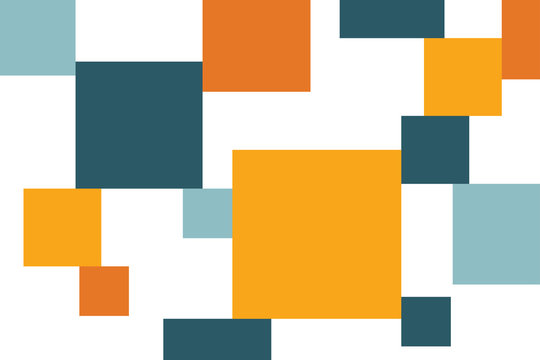 Abstract background pattern made with square shapes in bold, bright colors. Modern, simple vector art.