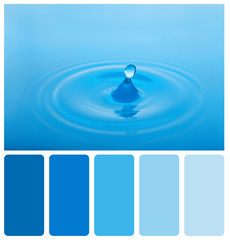 Splash of blue water. Palette of colors