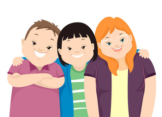 Teens Down Syndrome Friends Illustration