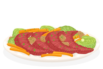 St Patrick Beef Cabbage Carrots Illustration