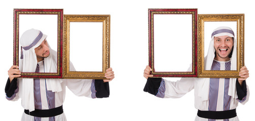 Arab man with picture frame isolated on white