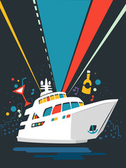 Yacht Party Poster Design Illustration