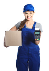 Smiling courier with payment terminal and parcel isolated on white