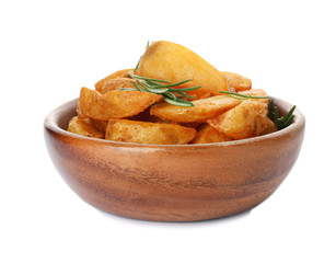 Baked potatoes with rosemary in bowl on white background