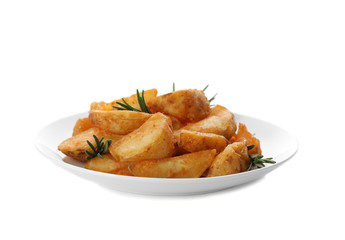 Plate with baked potatoes and rosemary on white background