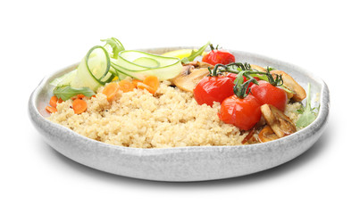 Plate of healthy quinoa salad with vegetables isolated on white