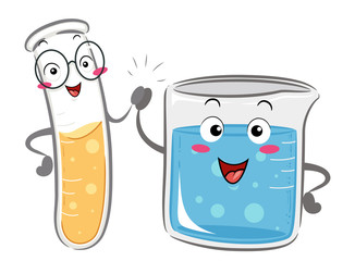 Mascot Test Tube Beaker Friends Illustration