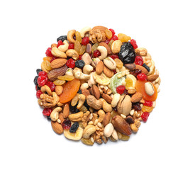 Heap of dried fruits and nuts isolated on white, top view
