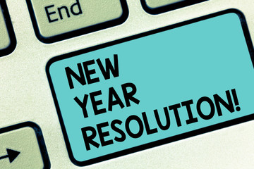 Word writing text New Year Resolution. Business concept for promise that you make yourself start doing something Keyboard key Intention to create computer message pressing keypad idea
