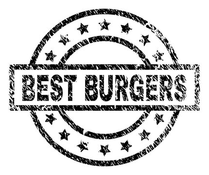 BEST BURGERS stamp seal watermark with distress style. Designed with rectangle, circles and stars. Black vector rubber print of BEST BURGERS caption with unclean texture.