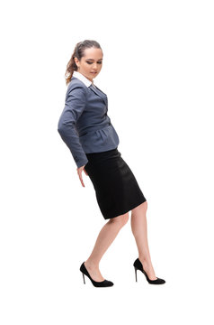 Young businesswoman isolated on white background