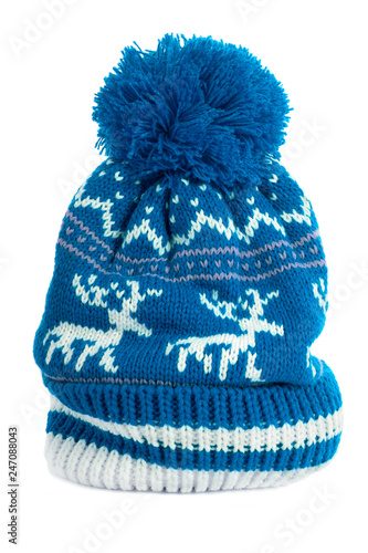 ec49733c6b1 Blue bobble ski hat isolated white vertical