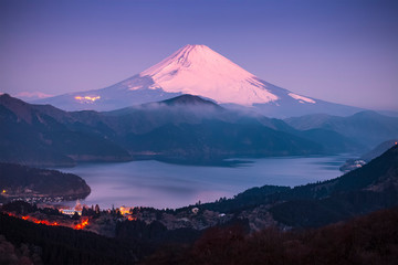 Lake ashi and Mt. Fuji in morning winter season