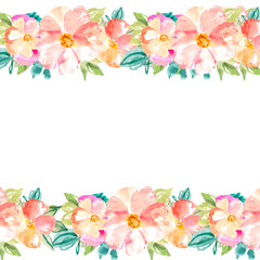 Watercolor Flower Wreath Frame Background. Flower Wreath. Floral Background Frame