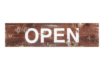 Open wood sign isolated on white background