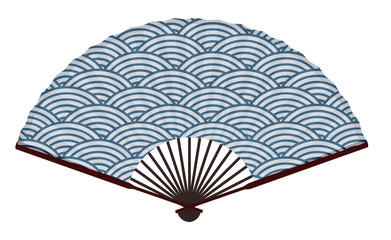 Ancient Traditional Japanese Fan With The Japanese Sea Wave Pattern