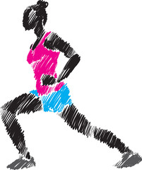 woman stretching brush illustration