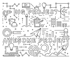 Big and Awesome Project Line Art Design. Youthful Doodle Style. Black And White Illustration. Business, Startup, And Project Concept. Thin Line Banner And Background Design