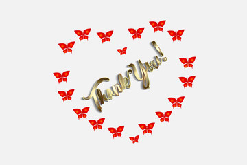 Thank you love heart butterflies gold card vector design