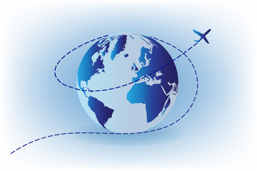Airplane flying around world vector image