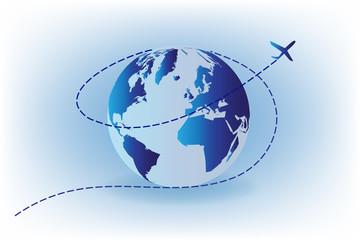 Airplane flying around world vector image