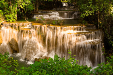 Natural deep tropical stream waterfall, natural landscape background