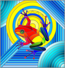 Illustration in stained glass style with abstract rainbow frog on geometric blue background with sun