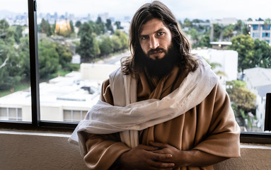 Jesus disciple - Urban background with trees