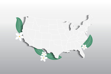 Vector USA map floral logo icon image