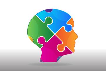 Puzzle head ideas concept logo vector