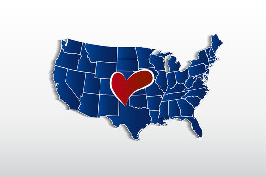 Vector USA map and love heart logo icon image