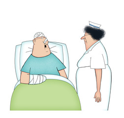 Cartoon of a Hospital Patient and Nurse Isolated on Whtie