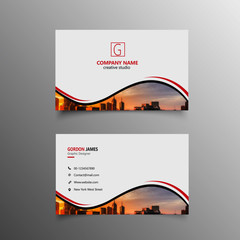 Business card template with geometric shapes