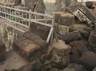 Siem Reap,Cambodia-January 10, 2019: Summit of pyramid of Prasat Thom in Koh Ker in Siem Reap, Cambodia