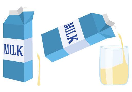 青い牛乳パックと注がれるコップ Milk carton. Cup of milk
