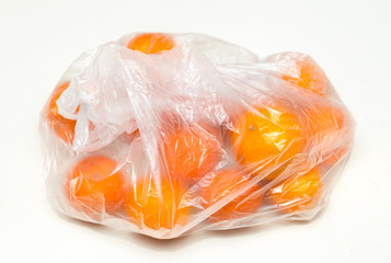 package with tropical orange on white background