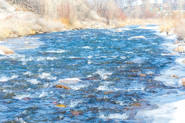 Mountain river and stones in winter