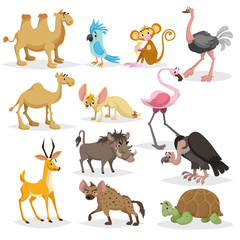 Cute cartoon african animals set.  Dromedary and bactrian camels, parrot, monkey, ostrich, fennec fox, flamingo, warthog, vulture, antelope, hyena, big turtle.