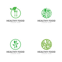Set of healthy food logo template vector design