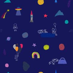 Universe Space Planet Star astronaut balloon seamless pattern moon rainbow travel cosmos astronomy graphic design typography element. Hand written postcard. Cute simple vector paper cutout collage
