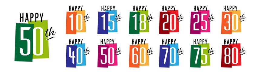 Happy 10th Birthday to Happy 80th Birthday Wall mural