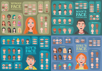 Woman, Man, Girl, Boy Character Constructors