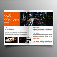 Business commercial brochure template with image
