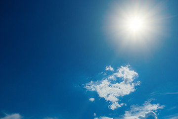 blue sky with clouds and sun, Strong sun and skies, Clear sky background with tiny clouds.