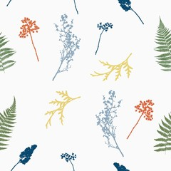 Seamless pattern with leaves of ferns, thuja and other herbs. Vector illustration.